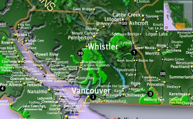 Map Vancouver Coast & Mountains, Sunshine Coast